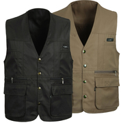 The middle-aged men's father put vest in the elderly men in spring and autumn, thin section multi pocket pocket Ma Jiabei