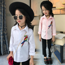 LKT wear girls shirts 2017 new spring and autumn children color in the Korean version of parrot embroidered shirt quality surge