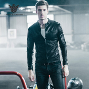 The leather jacket male short slim trend of Korean men motorcycle leather new spring coat thin gown