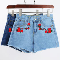Embroidery embroidery flower jeans woman ladies summer 2017 new Korean version of Joker high waisted hot pants light summer memories