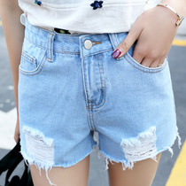 Spring of light high waist denim shorts woman 2017 new Korean summer Miss the summer hole three Flash memory hot pants