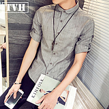 Short Sleeve Shirt Men's Summer Colorful Casual Shirt Men's Slim Thin Cardigan Teenage Tanker