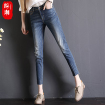 Jeans woman hole in spring of 2017 summer slim Korean students new stretch high waist skinny jeans with bound feet nine cows
