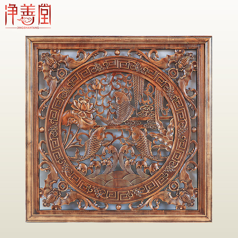 Retro Chinese style wall decorative paintings Solid wood carving method Chinese entrance wall Dongyang wood carving Fu pendants