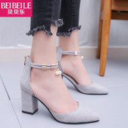In the summer of 2017 female high-heeled shoes with shoe designer shoes all-match rough Korean students in Baotou Rome ladies sandals