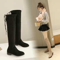 Knee Boots Women Winter 2016 new round head high boots boots stretch boots knee was thin flat boots women boots cotton
