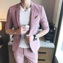 The spring and summer in England's male striped suit sleeve fashion stylist 2 piece suit fashion club