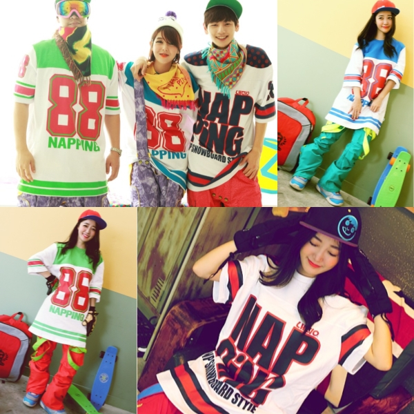 South Korea napping couple fashion ski must use the sweater ski suit T-shirt short sleeve Pullover tee package
