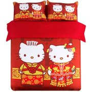Hello Kitty four sets of single bed double red cotton fitted new cute cartoon celebration wedding bedding