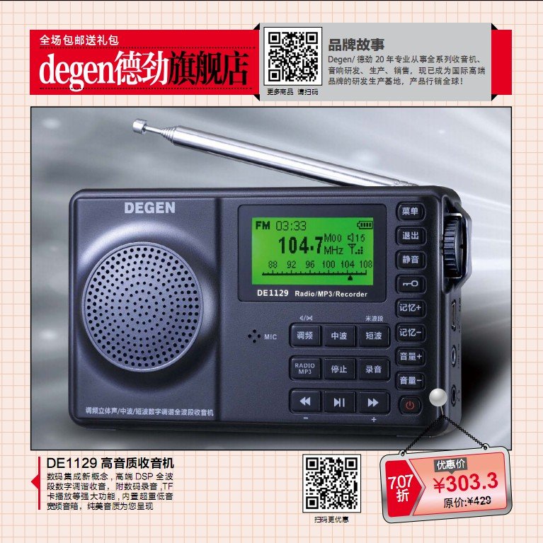 Degen/Dejin DE1129 Digital FM Full Band 4G Memory/Elderly Portable Card Box Radio
