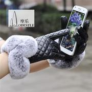 Full touch screen gloves lady lovely rabbit hair Kouqiu imitation leather gloves plus velvet warm winter riding car