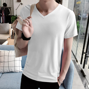2017 new short sleeved t-shirt men's Korean version of the V collar summer coat slim slim men's boot shirt half sleeve tide
