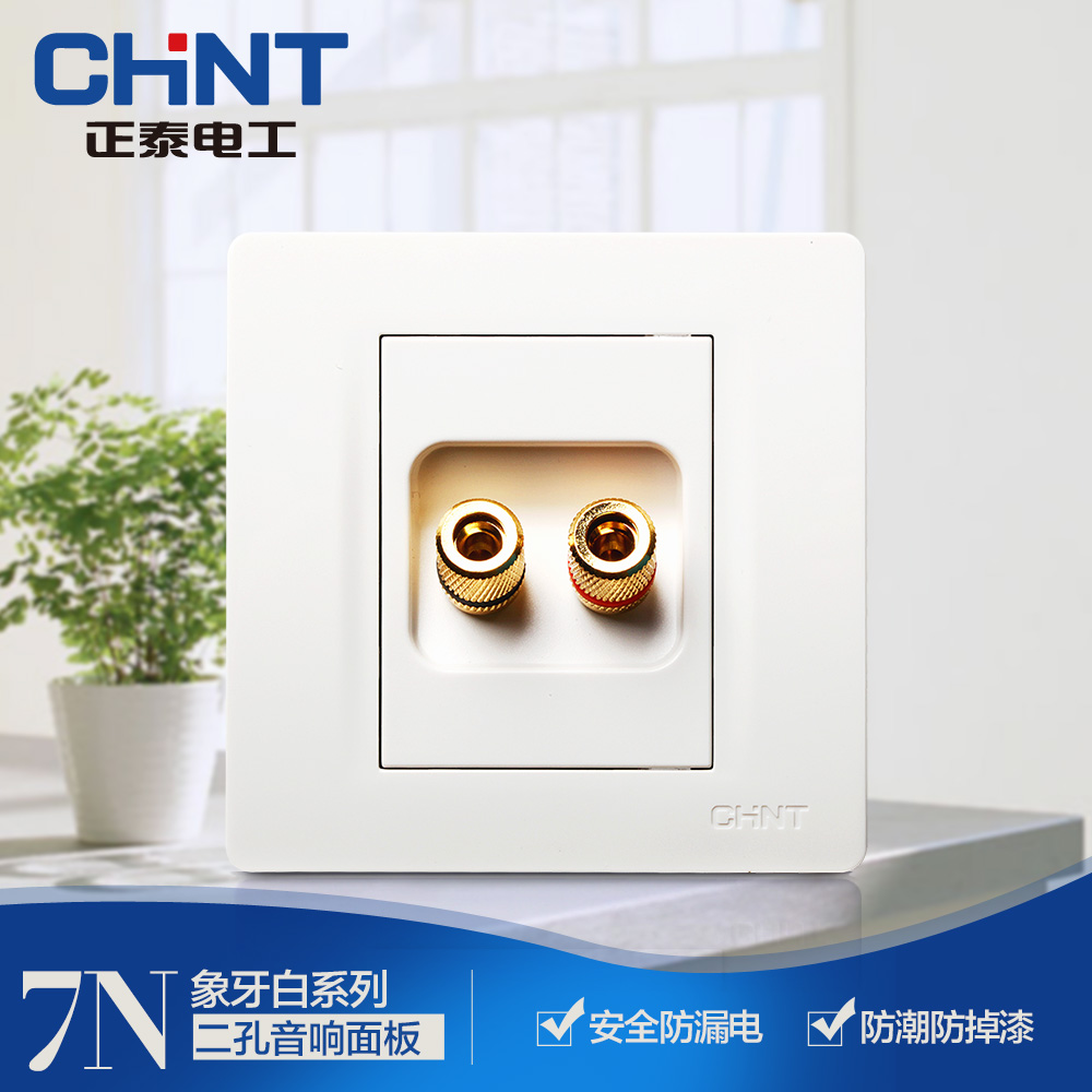 Zhengtai Electric New 86 type wall switch panel NEW7N ivory white two-hole sound