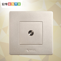 Bull Cable TV socket panel wall concealed household 86 TV closed circuit antenna champagne gold switch socket