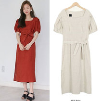 South Korea purchasing the East Gate genuine women 2017 summer new square collar short sleeve in the long section of linen dress
