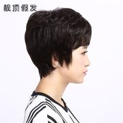 Short haired woman with short hair, hair, hair, hair, short hair, straight hair, a short sleeve, a round face