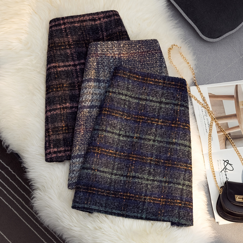 Korean plaid skirt female autumn/winter 2020 new high waist retro woolen bag hip skirt anti-glare A-line skirt
