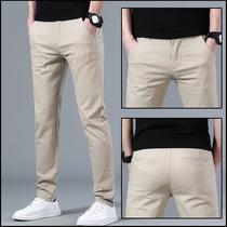 Tendance non-chaud pantalons décontractés hommes été mince affaires mince petits pieds pantalon coréen édition élastique couleur unie hommes pantalons