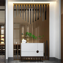 Stainless steel screen cut off the flower grid metal hollow light luxury Chinese modern rose gold hotel living room Xuanguan custom