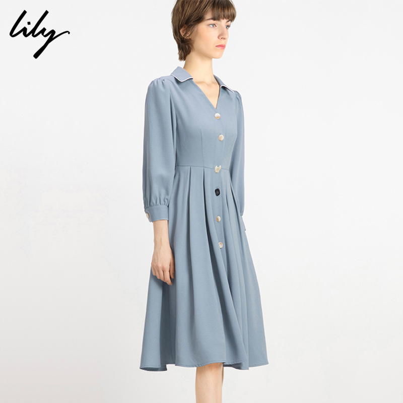 Lily 2020 spring new women's French V-neck blue grey small Plaid waistband X-type single breasted dress 7918