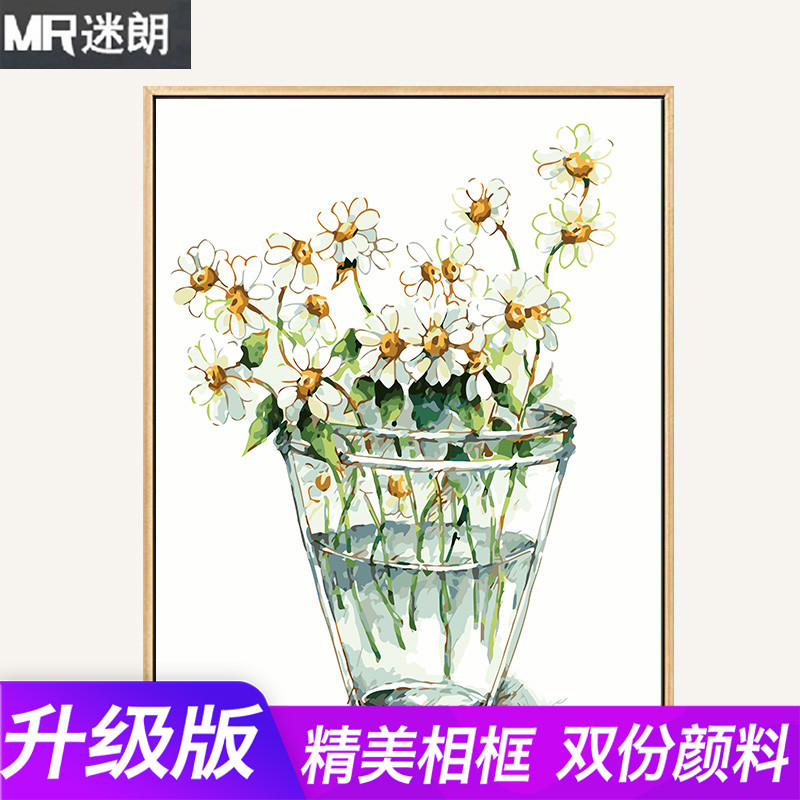 Minimalist Digital Filling of Flowers and Plants in Living Room Direction Digital Oil Painting Hand-painted Oil Decoration Painting