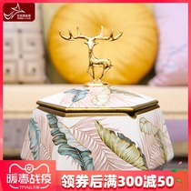 American creative ashtray with cover ceramic ashtray living room home personality trend European multi-functional storage box