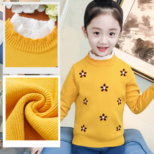 Girls' sweaters, top 2018, autumn and winter, new style, western style, flannel, thicker children's wear, knitted bottoming shirts, Korean version.