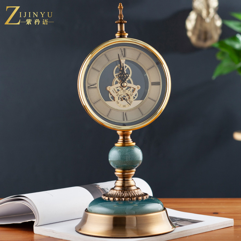 European Seat Clock, Desktop, Lightweight Living Room, Watch Pendulum, American Creative Large Mute Table Clock, Table Clock