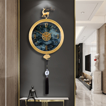 Pure copper clock wall clock sitting room household fashion clock modern light luxury sitting room creative personality new Chinese style quartz clock