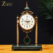 European Light Luxury metal seat clock living room mute table clock table clock ornaments home large American decorative clock