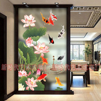 Modern stained-glass art glass partition screen living room light frosted custom-made steel craft fish entrance background wall