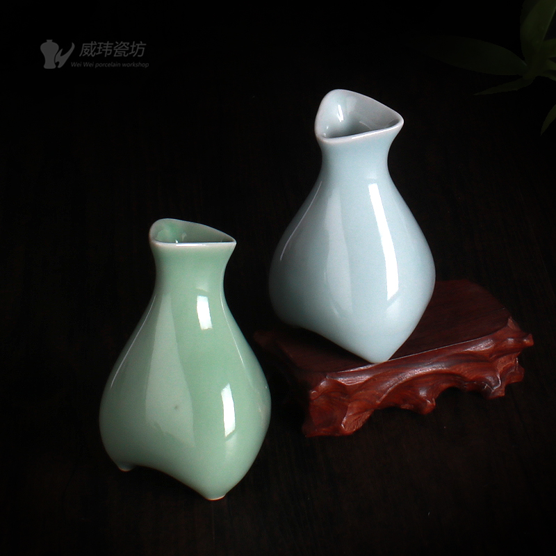 Longquan Weiwei Qing Porcelain Ancient-like Blue and White Porcelain Vase Tripod Vase
