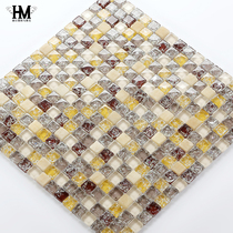 Crystal ice crack mosaic magnetic brick glass stone dressing room TV background wall paste European idyllic Mediterranean