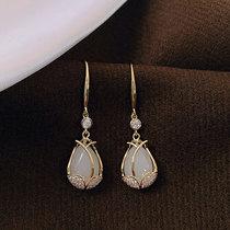 Tulip opal earrings female sterling silver 2021 new trend atmospheric temperament niche design sense high-end ear hook