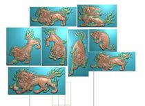 Carved map grayscale lion 8 single unicorn puzzle back door bmp wood carving figure Tan carved pendant