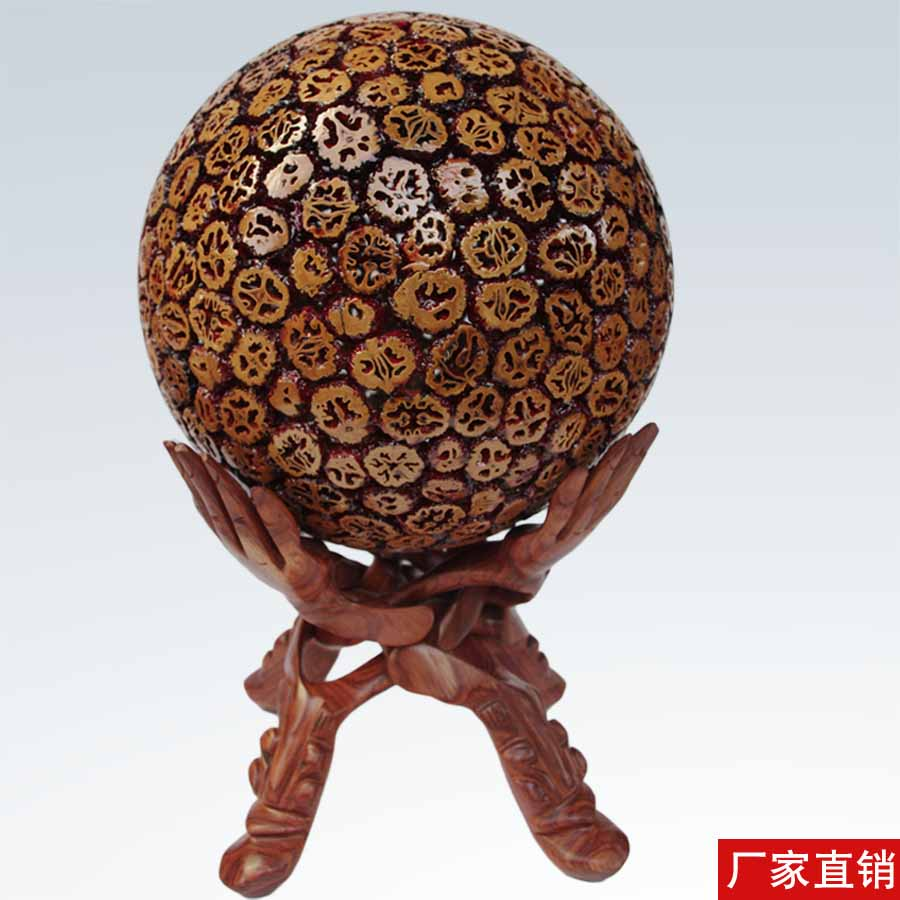 Walnut Transfer Ball Wood Carving Arrangement Jiahe MasterCard 30CM Business Gift Crafts Recruitment Arrangement