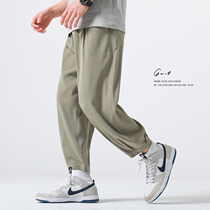 GWIT Dacron draped all summer thin and light new loose Harun small feet straight casual nine-point pants men