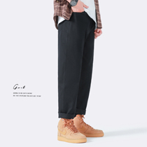 GWIT 重磅精梳陆地棉 春秋新款宽松潮流直筒长裤阔腿工装休闲裤男