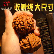 Walnut walnut four buildings Lion head large collection-grade grinding plate South stone white lion three ribs