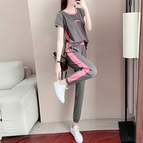 Hong Kong sports suit womens summer 2021 new fashion Korean version loose thin pure cotton casual two-piece set ins tide