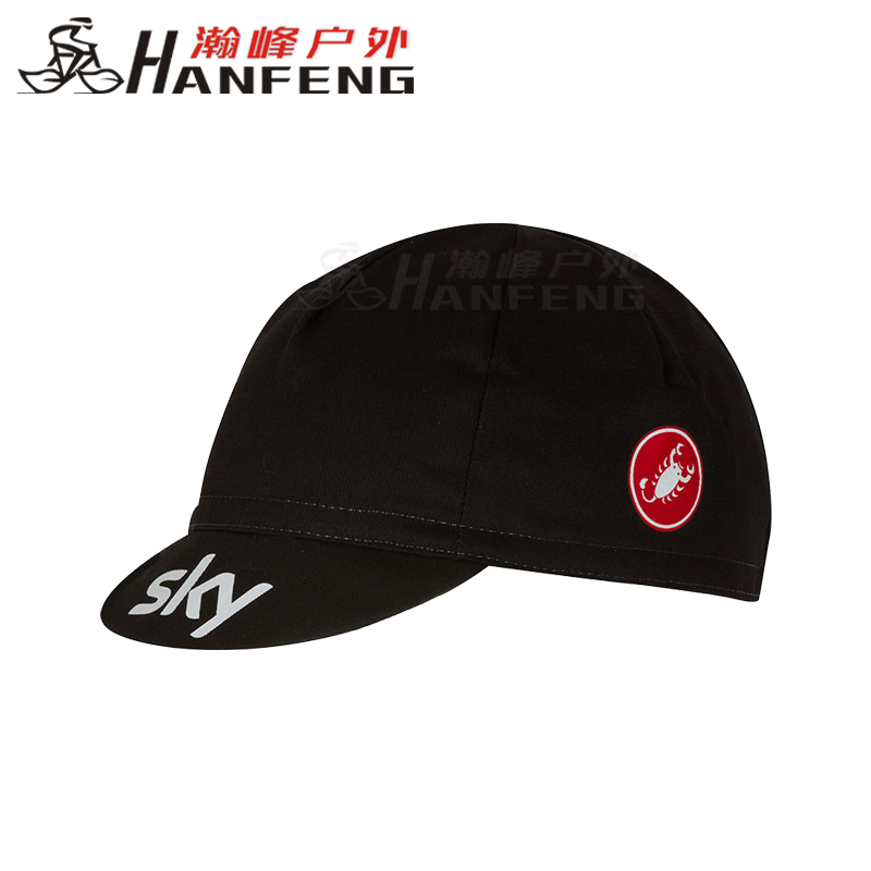 Seventeen Scorpions Castelli Sky Sky Team riding hats can be worn under the helmet