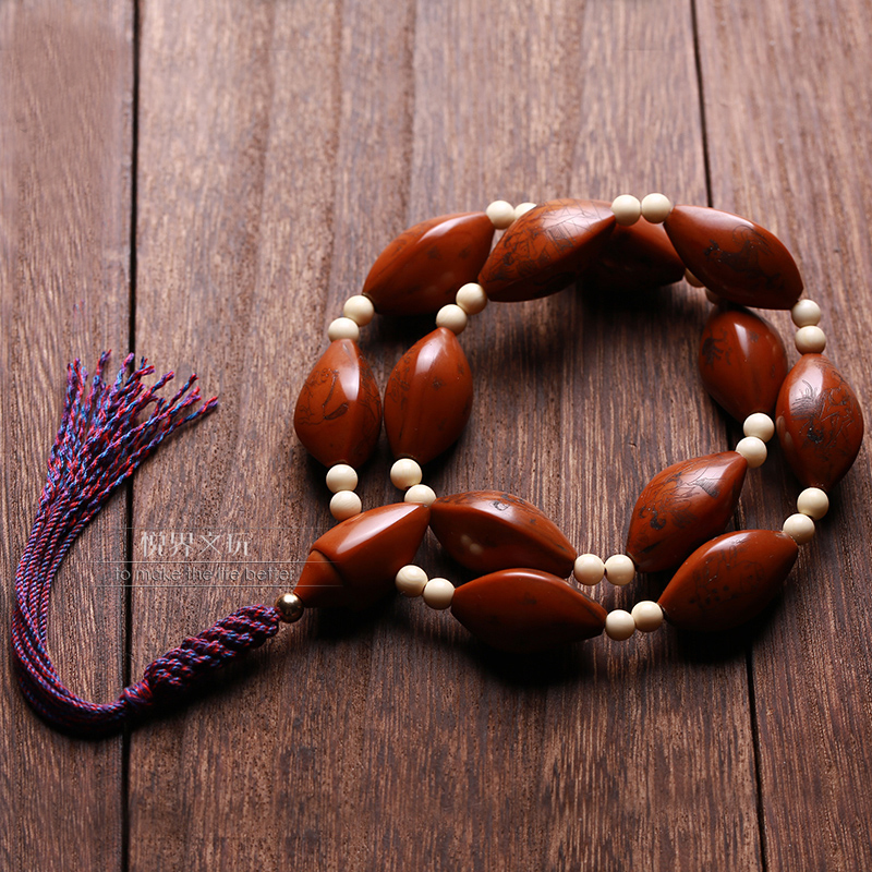 The source of life of olive nuclear carving hand-carved Buddha beads long-haired text play ball put a piece of spring male pattern