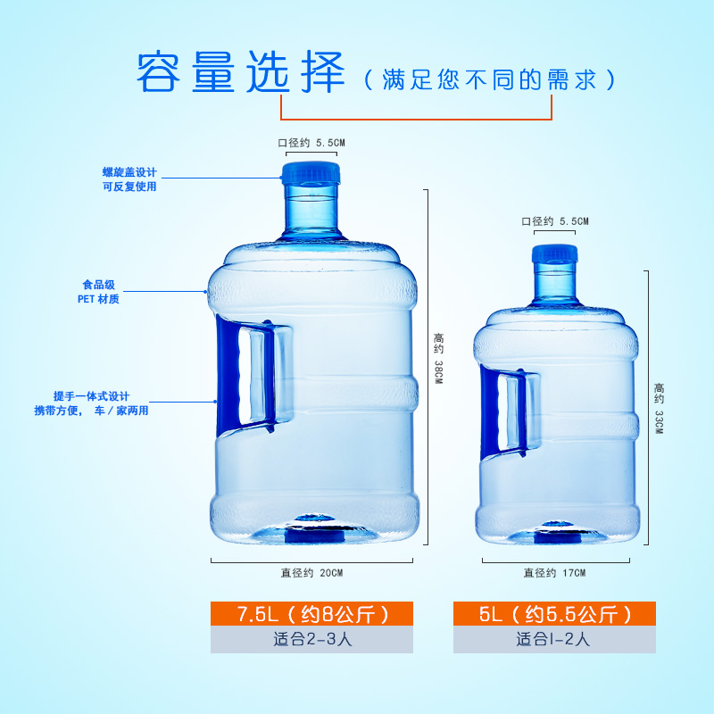 Thickened Pure Water Barrel 7.5 L Drinking Machine Water Sales Machine Barrel Hand-held Water Barrel Vehicle Food Package