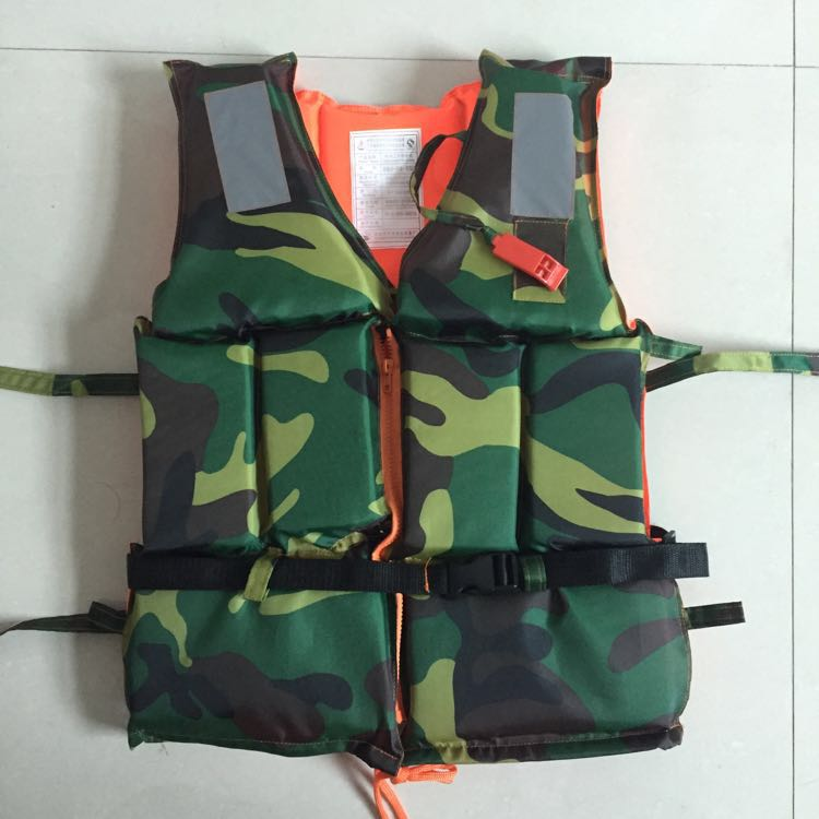 Factory direct sales camouflage zipper buckle work life jacket anti-flood outdoor drifting scenic boat