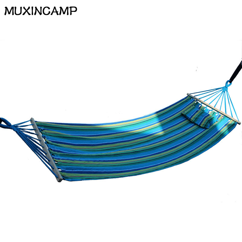 MUXINCAMP outdoor indoor hammock single person with wooden stick and pillow thickened canvas hammock swing Matching Bag