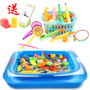 Packed square children, puzzle children, cats, fishing toys, fishing, magnetic fishing toys, pool sets