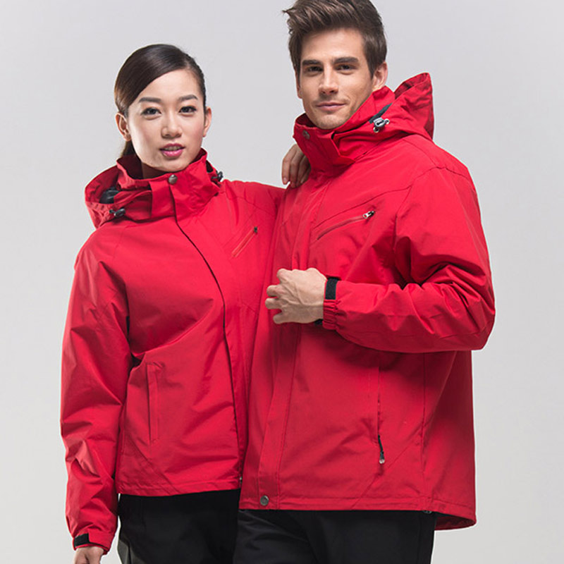 High-quality three-in-one winter warmth stormwear men and women two-piece suit can take off cold-resistant breathable red LOGO