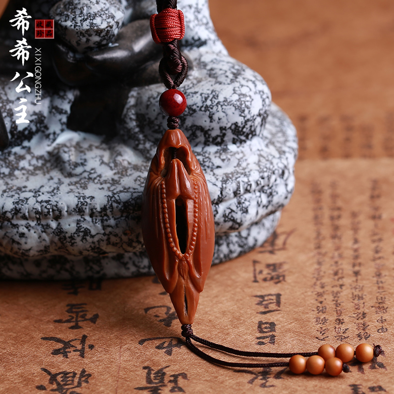 Pure hand-crafted olive core phaseless Buddhamo pendant pendant olive hun nuclear carved single-seed single slender men and women play