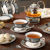 English afternoon tea set set of high-end household candles heated base ceramic European fruit flower teapot teacout