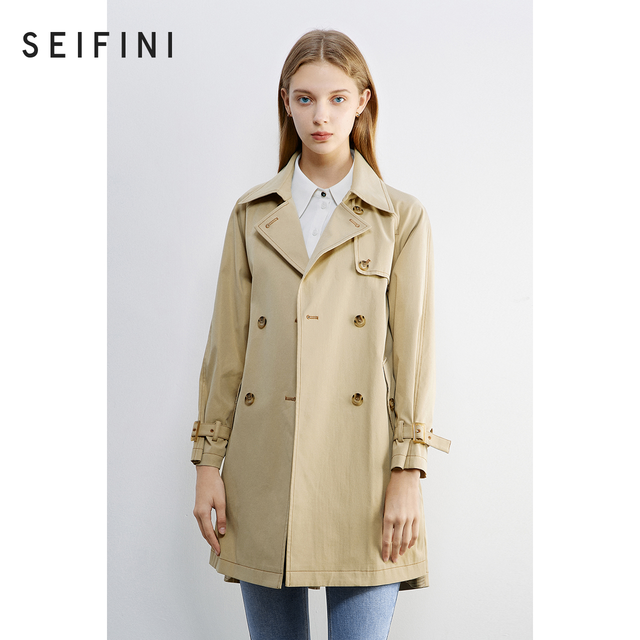 Shopping malls with the same Shifan Li windcoat coat women 2020 new autumn dress medium and long version of casual coat 3B8262141